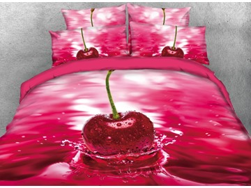 Vivilinen 3D Cherry on the Water Printed 4-Piece Red Bedding Sets/Duvet Covers