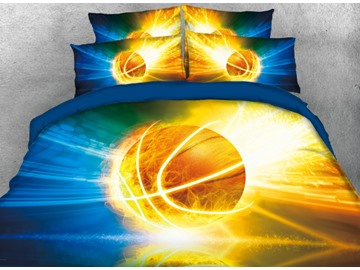 Vivilinen 3D Basketball with Light Printed 4-Piece Bedding Sets/Duvet Covers