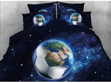 Onlwe 3D Galaxy Football Printed 4-Piece Black Bedding Sets/Duvet Covers