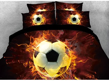 Onlwe 3D Football with Fire Printed 4-Piece Black Bedding Sets/Duvet Covers