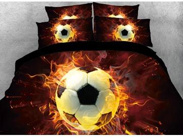 Vivilinen Soccer with Fire Printed 4-Piece Black 3D Bedding Sets/Duvet Covers