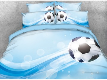 Onlwe 3D Football Printed 4-Piece Blue Bedding Sets/Duvet Covers