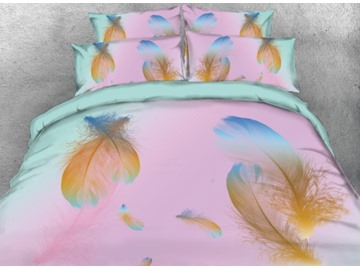 Onlwe 3D Dream Feather Printed 4-Piece Pink Bedding Sets/Duvet Covers