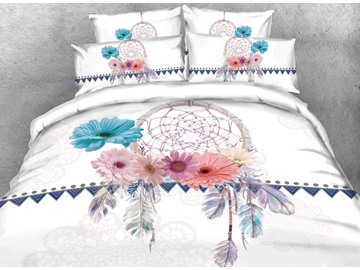 Vivilinen 3D Dreamcatcher with Daisy Printed 4-Piece White Bedding Sets/Duvet Covers