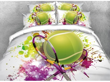 Tennis Sports Style Soft Comfortable Machine Washable 4-Piece 3D Printed Green Bedding Sets Durable Duvet/Comforter Cover with Non-slip Ties