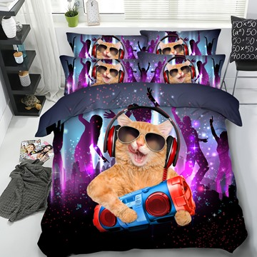 DJ Cat Rock and Roll Printed 4-Piece 3D Bedding Sets/Duvet Covers
