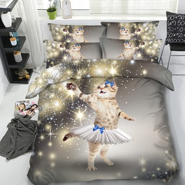 Beautiful Sparkle Cat with Short Skirt Printed 4-Piece 3D Bedding Sets/Duvet Covers