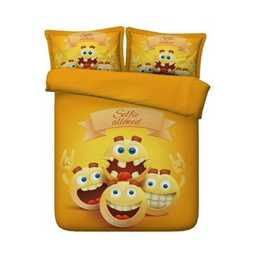 Funny Peas Smiling Printed 4-Piece Yellow 3D Bedding Sets/Duvet Covers
