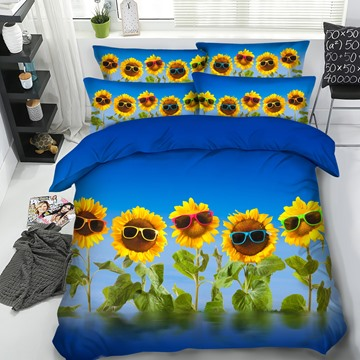 Sunflowers with Sunglasses under the Sky Printed 4-Piece 3D Bedding Sets/Duvet Covers
