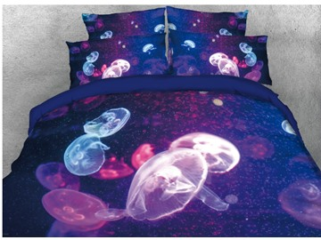 Colorful Jellyfish Printed 4-Piece 3D Bedding Sets/Duvet Covers