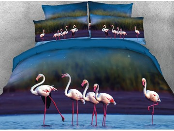 Onlwe 3D A Group of Flamingos Stand on the Water Printed 4-Piece Blue Bedding Sets/Duvet Covers