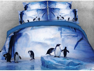 Penguins Frolicking Microfiber Wrinkle/Fade Resistant 4-Piece 3D Purple Bedding Sets Durable Duvet/Comforter Cover with Non-slip Ties