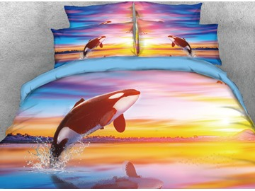 Onlwe 3D Jumping Orcinus Orca Printed 4-Piece Bedding Sets/Duvet Covers