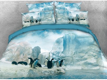 Onlwe 3D Penguin Standing by the Glacier Printed 4-Piece Purple Bedding Sets/Duvet Covers