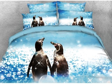 Onlwe 3D Couple Penguins Walking by the sea Printed 4-Piece Bedding Sets/Duvet Covers