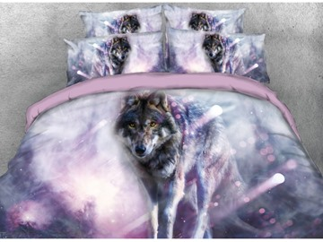 Lonely Wolf Printed 4-Piece Pink 3D Bedding Sets/Duvet Covers