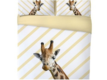 Onlwe 3D Giraffe Printed 4-Piece Goose Yellow Bedding Sets/Duvet Covers
