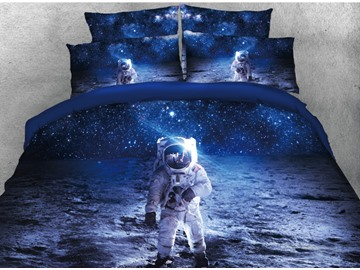 Onlwe 3D Astronaut Walking in Space Printed 4-Piece Blue Bedding Sets/Duvet Covers