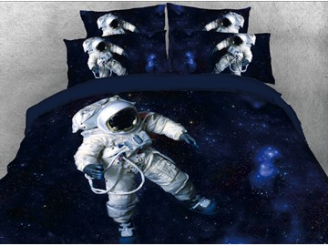 Onlwe 3D Astronaut in Space Printed 4-Piece Deep Blue Bedding Sets/Duvet Covers