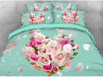 Onlwe 3D Heart-shaped Rose Printed 4-Piece Bedding Sets/Duvet Covers