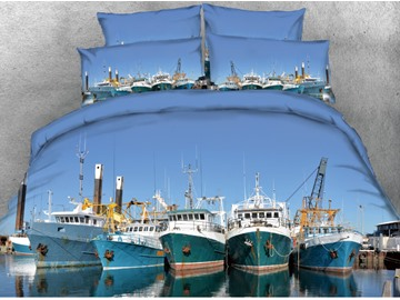 Vivilinen 3D Boats Moored in the Port Printed Polyester 4-Piece Bedding Sets/Duvet Covers