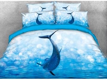 3D Jumping Dolphin Printed Cotton 4-Piece Blue Bedding Sets/Duvet Covers