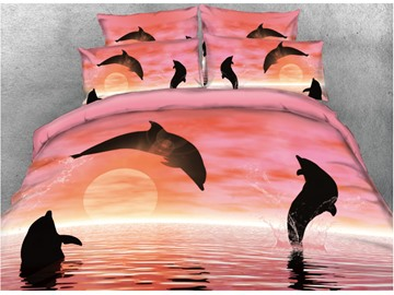 Onlwe 3D Jumping Dolphin Printed Cotton 4-Piece Pink Bedding Sets/Duvet Covers