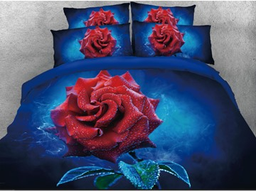 Onlwe 3D Red Rose Printed 4-Piece Dark Blue Bedding Sets/Duvet Covers