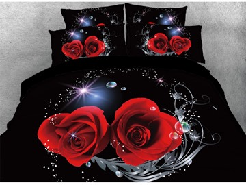 Vivilinen 3D Shinning Heart-shaped Red Rose Printed 4-Piece Bedding Sets/Duvet Covers