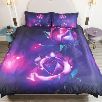 Purple Rose Printed 4-Piece 3D Bedding Sets/Duvet Covers