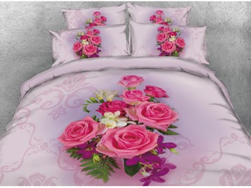 Onlwe 3D a Bouquet of Roses Printed 4-Piece Pink Bedding Sets/Duvet Covers