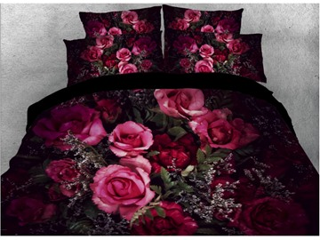 Vivilinen Rose Printed 4-Piece Dark 3D Red Bedding Sets/Duvet Covers