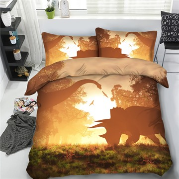 Dinosaur Under the Sunrise 3D Polyester 4-Piece Bedding Sets/Duvet Cover