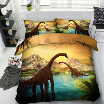 Two Dinosaurs in Water 3D Printing Polyester 4-Piece Bedding Sets/Duvet Cover