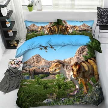 Dinosaur Island 3D Printing Polyester 4-Piece Bedding Sets/Duvet Cover