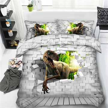 Dinosaur Through Walls Polyester 3D Printing 4-Piece Bedding Sets/Duvet Cover
