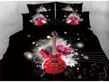 Vivilinen 3D Red Guitar Playing in the Dark Printed Cotton 4-Piece Bedding Sets