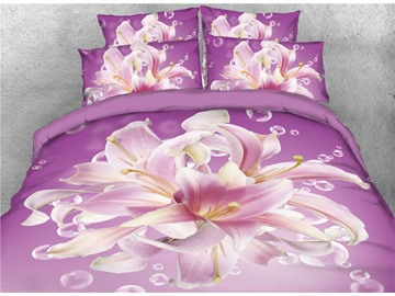 Floral Pattern Purple 3D Printed Cotton 3D 4-Piece Bedding Sets/Duvet Covers