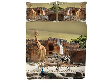 Vivilinen 3D Giraffe and Zebra Printed 4-Piece Blue Bedding Sets/Duvet Covers