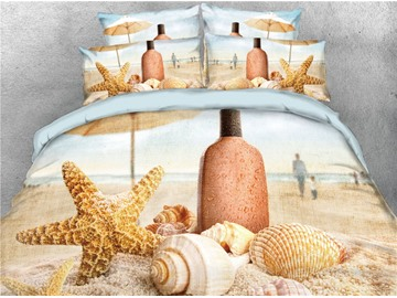 3D Starfish, Shell & Drift Bottle Cotton Printed 4-Piece Bedding Sets/Duvet Covers