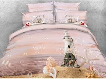 3D Beach Castle Starfish&Dreamy Bubble Cotton Printed 4-Piece Bedding Sets/Duvet Covers
