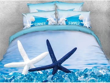 3D White and Blue Starfish Beach Style Cotton Printed 4-Piece Bedding Sets/Duvet Covers