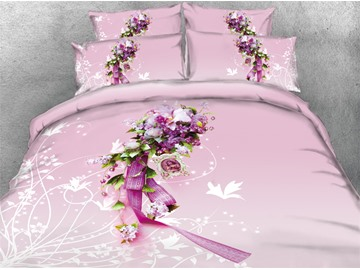 A Bunch of Flowers Blush Pink Printed Cotton 3D 4-Piece Bedding Sets/Duvet Covers