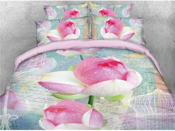 Blooming Pink Lotus Printed Cotton 4-Piece 3D Bedding Sets/Duvet Covers