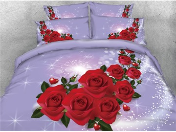 Shining Red Rose Purple Printed Cotton 4-Piece 3D Bedding Sets/Duvet Covers