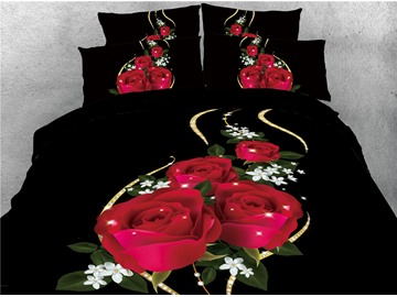 3D Shining Red Rose in the Dark Printed Cotton 4-Piece Bedding Sets/Duvet Covers