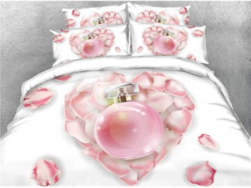 3D Heart-shaped Petals Blush Pink Perfume Printed Cotton 4-Piece Bedding Sets/Duvet Covers