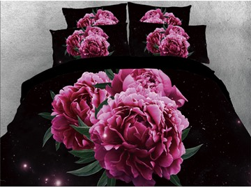 Vivilinen 3D Red Peonies Printed Black Cotton 4-Piece Bedding Sets/Duvet Covers