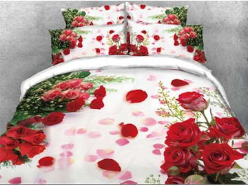 Onlwe 3D Red Rose Printed Cotton 4-Piece Bedding Sets/Duvet Covers