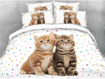 3D Two Cats Staring Somewhere Printed Cotton 4-Piece Green Bedding Sets/Duvet Covers
